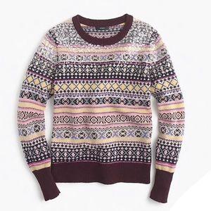J. Crew Sequin Fair Isle Lambswool Sweater
